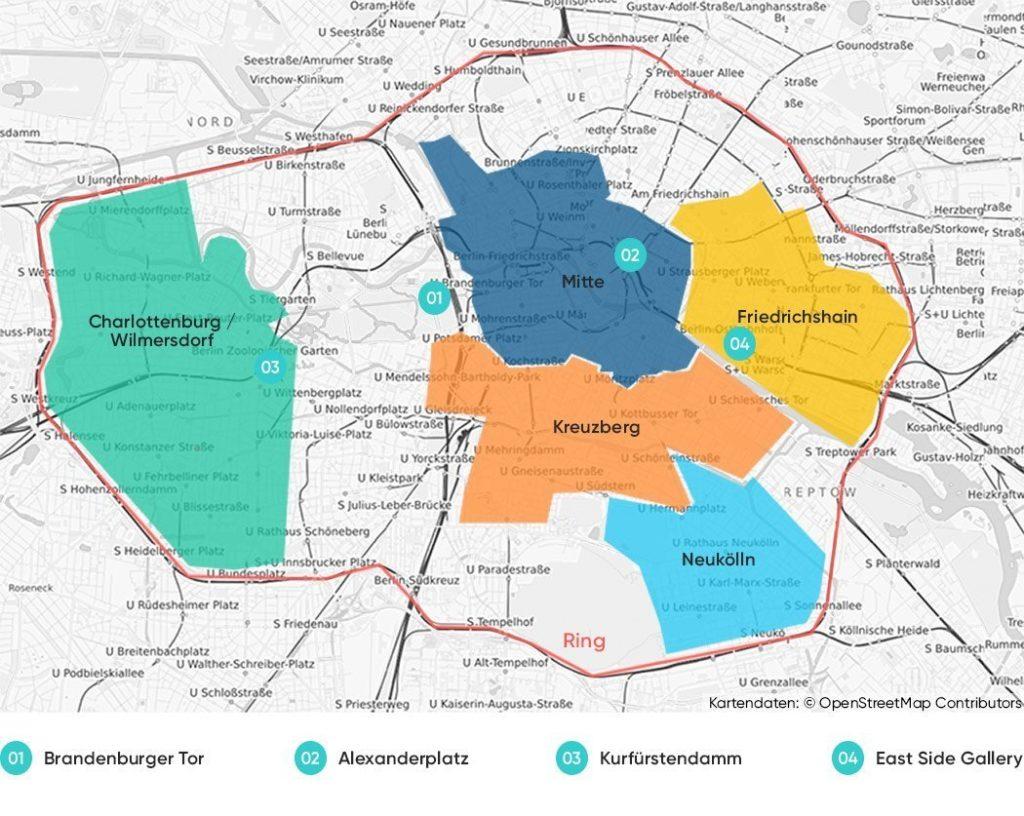 peta lokasi distrik penting di berlin dengan warna