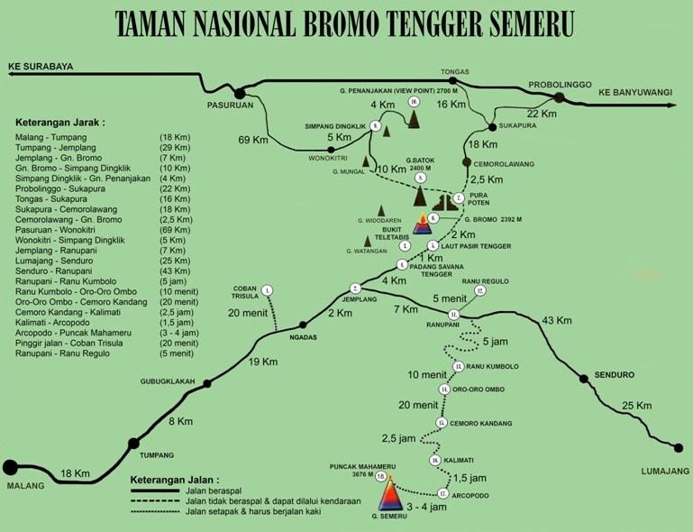 peta rute dan jalur kawasan bromo tengger semeru