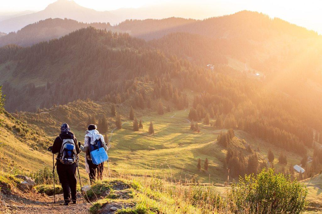 mountain, people, hiking